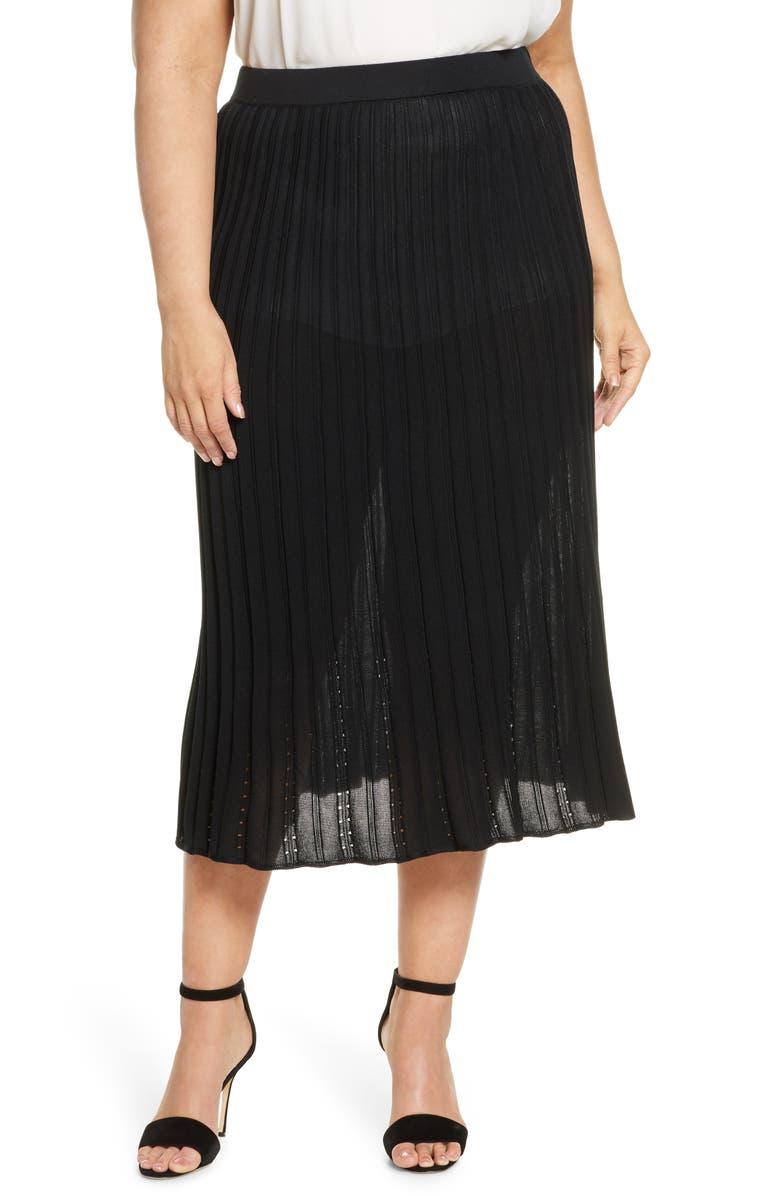 MING WANG Pointelle Knit Skirt, Main, color, BLACK