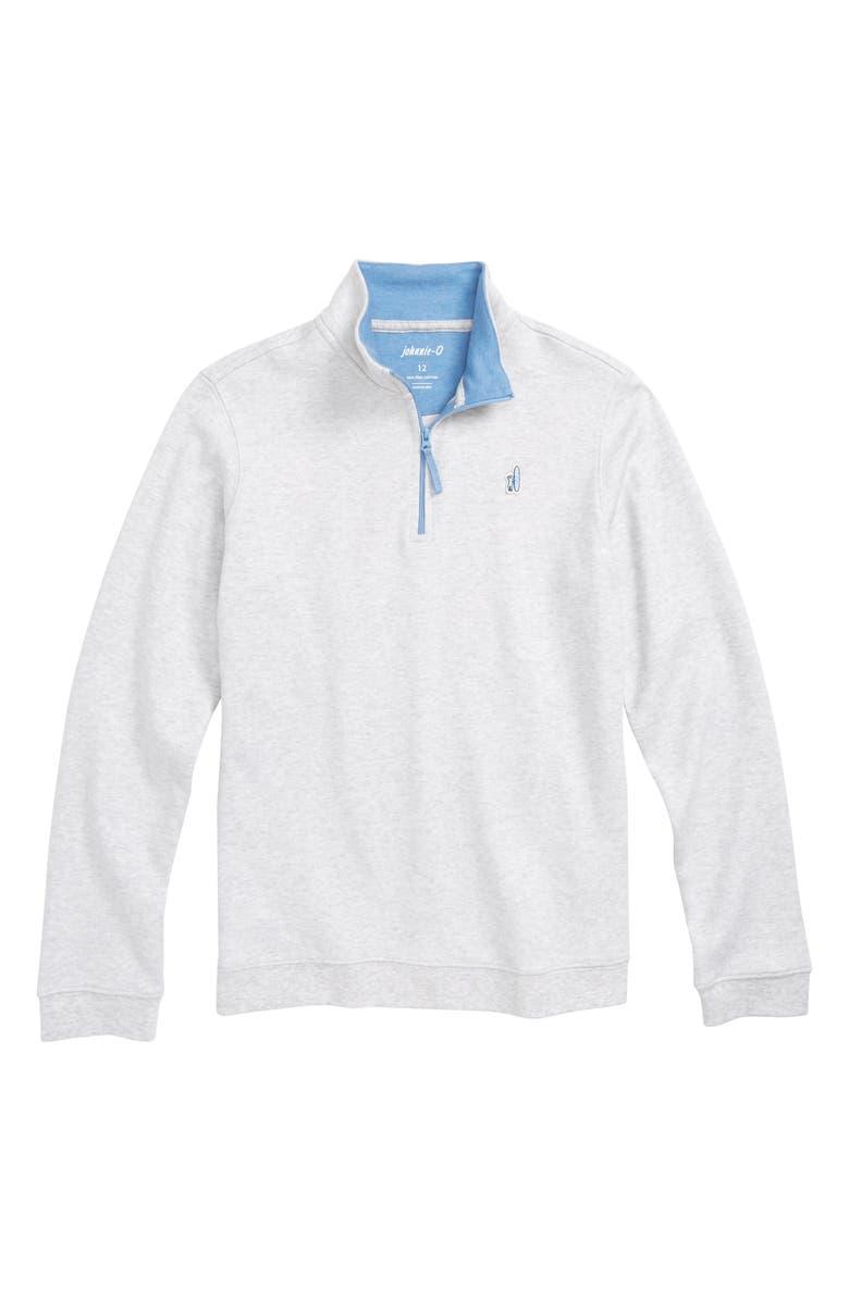 JOHNNIE-O Watson Quarter Zip Pullover, Main, color, LIGHT GRAY