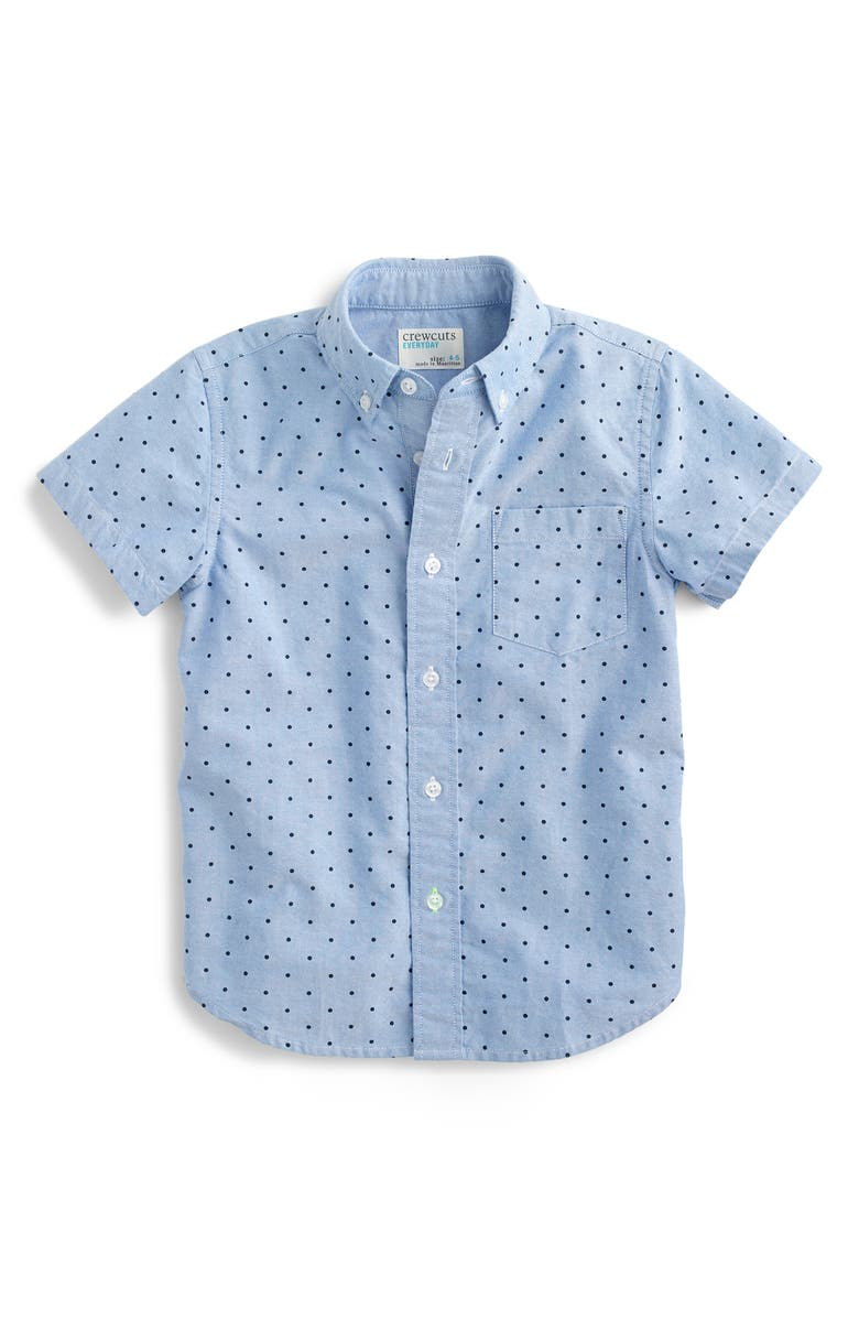 CREWCUTS BY J.CREW Secret Wash Dot Short Sleeve Shirt, Main, color, 200