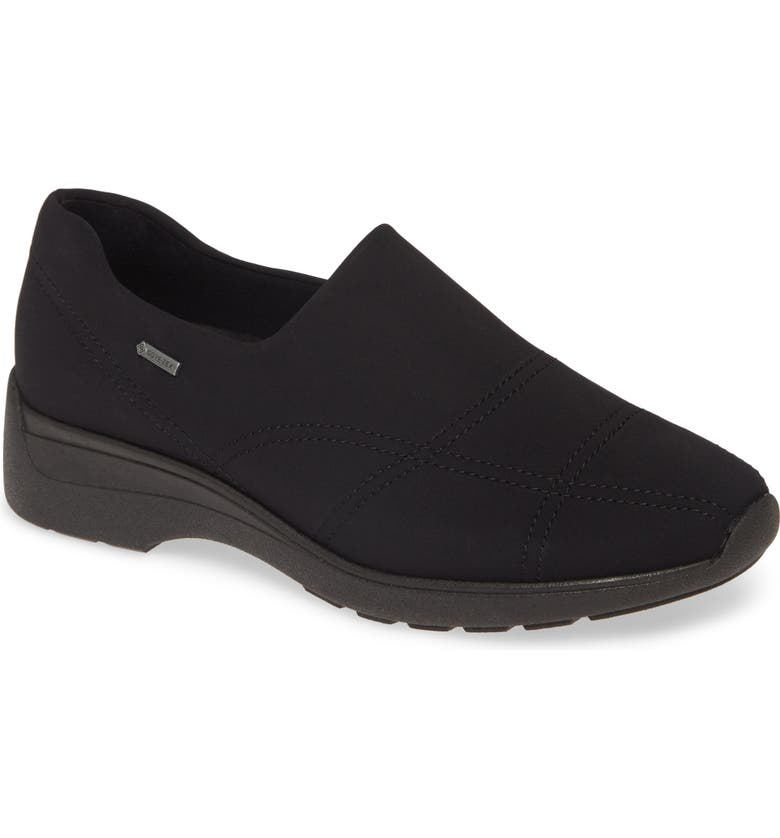 ARA Prue Gore-Tex<sup>®</sup> Waterproof Slip-On Sneaker, Main, color, BLACK FABRIC
