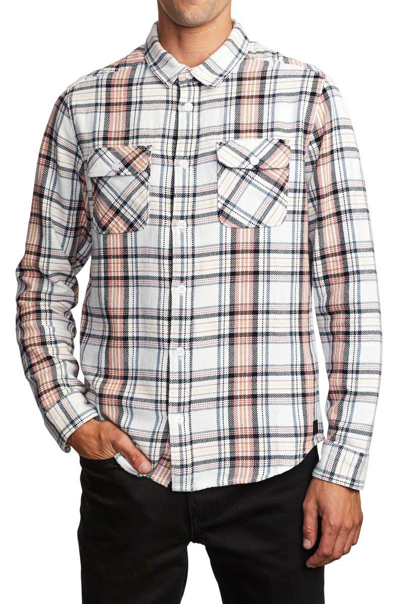 RVCA Avett Plaid Regular Fit Button-Up Twill Shirt, Main, color, ANTIQUE WHITE