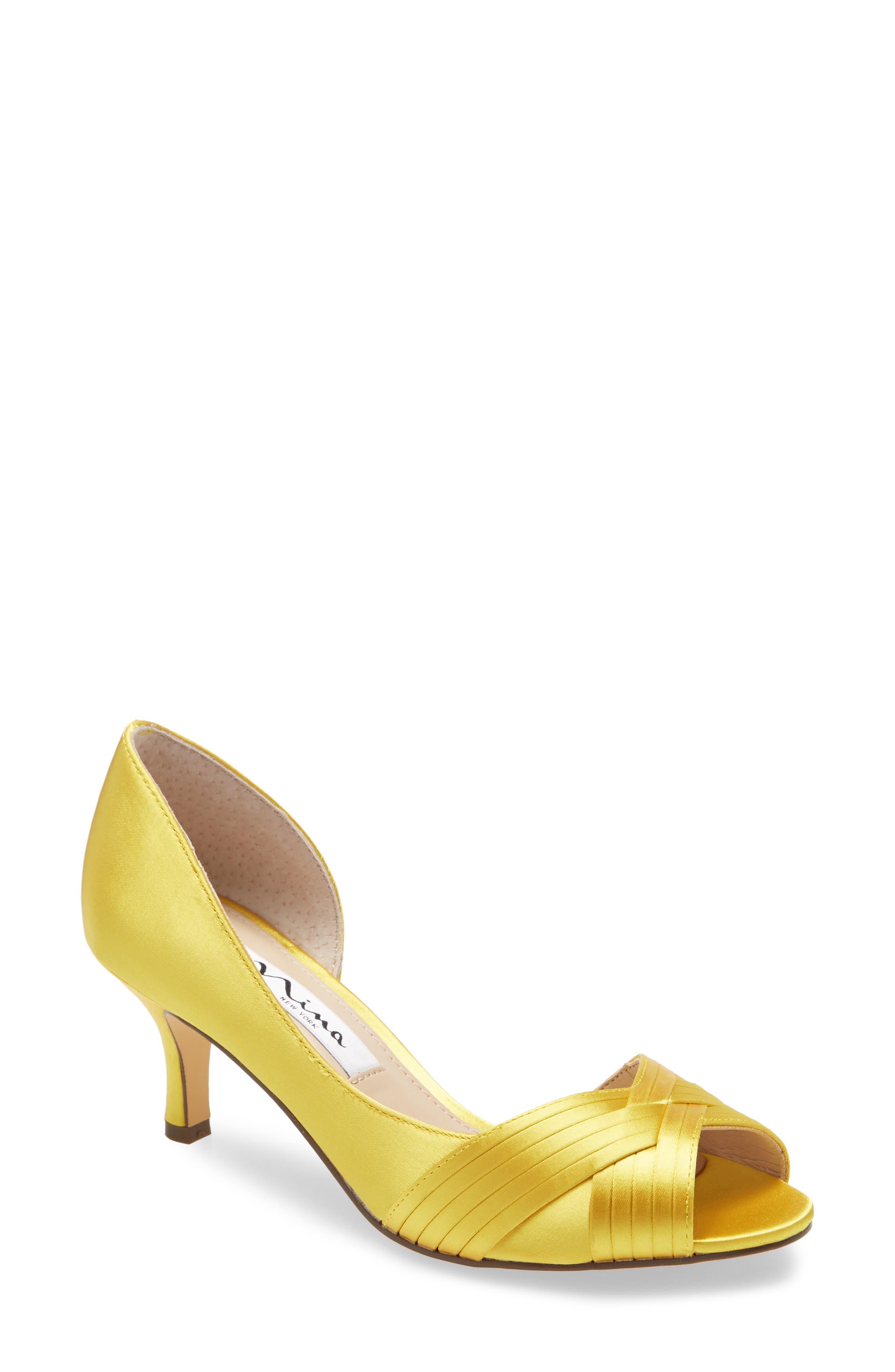 Nina Contesa Open Toe Pump In Yellow