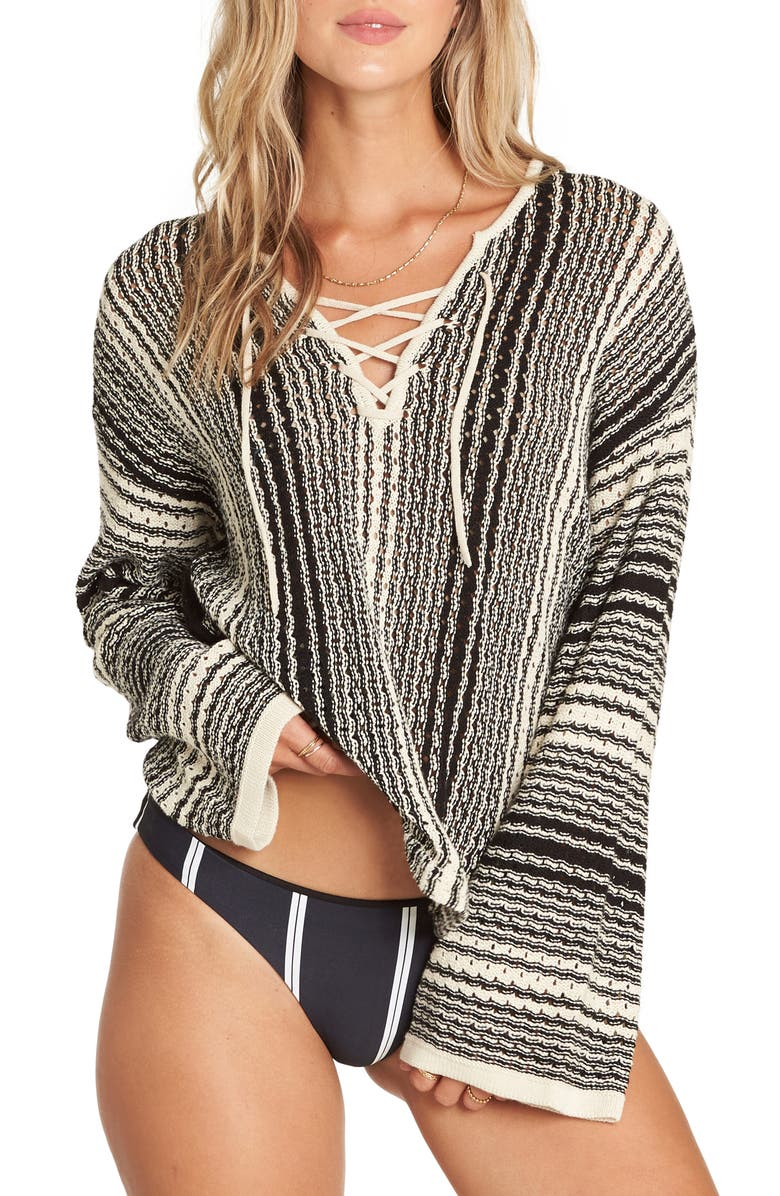 BILLABONG Tidal Waves Lace-Up Sweater, Main, color, 001