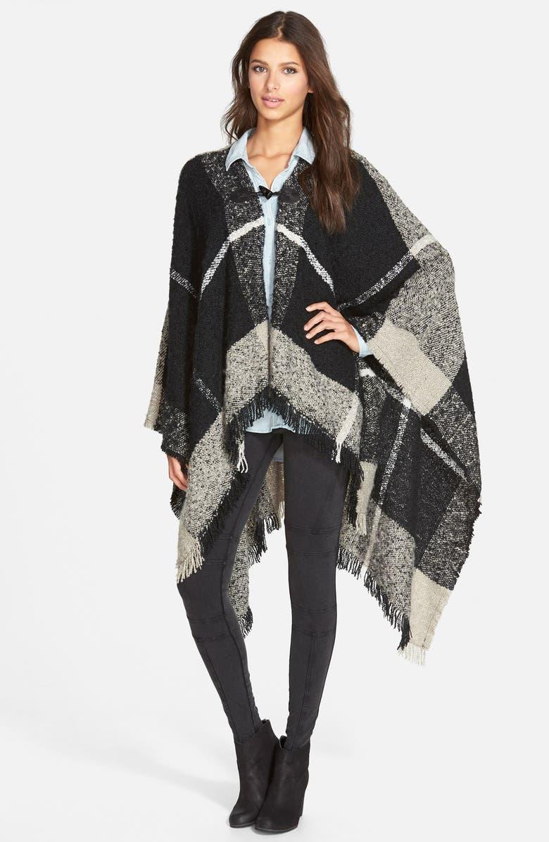 WOVEN HEART Plaid Blanket Poncho, Main, color, 001