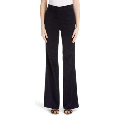 Victoria Beckham High Waist Corduroy Flare Pants, US / 14 UK - Blue