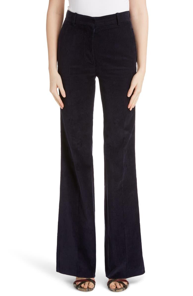 VICTORIA BECKHAM High Waist Corduroy Flare Pants, Main, color, NAVY