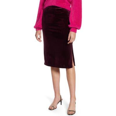 Petite Halogen Velvet Pencil Skirt, Burgundy