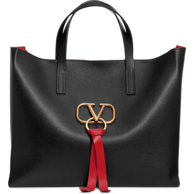 Valentino Garavani V-Ring Leather Tote - Black