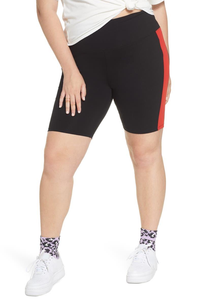 BP. x Claudia Sulewski Side Stripe Biker Shorts, Main, color, 001
