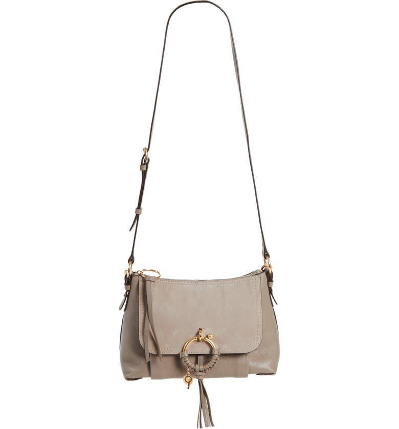 SEE BY CHLOÉ Small Joan Suede & Leather Crossbody Bag, Main, color, MOTTY GREY
