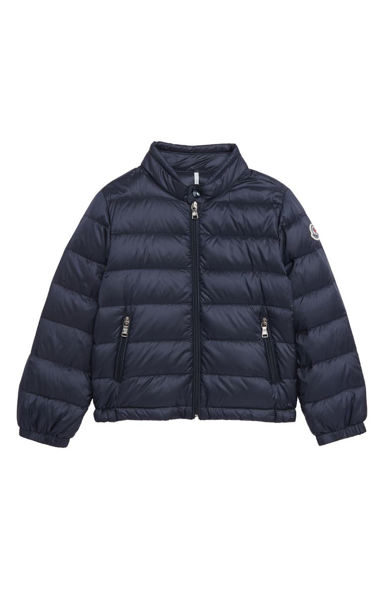MONCLER Acorus Channel Quilted Down Moto Jacket, Main, color, 410