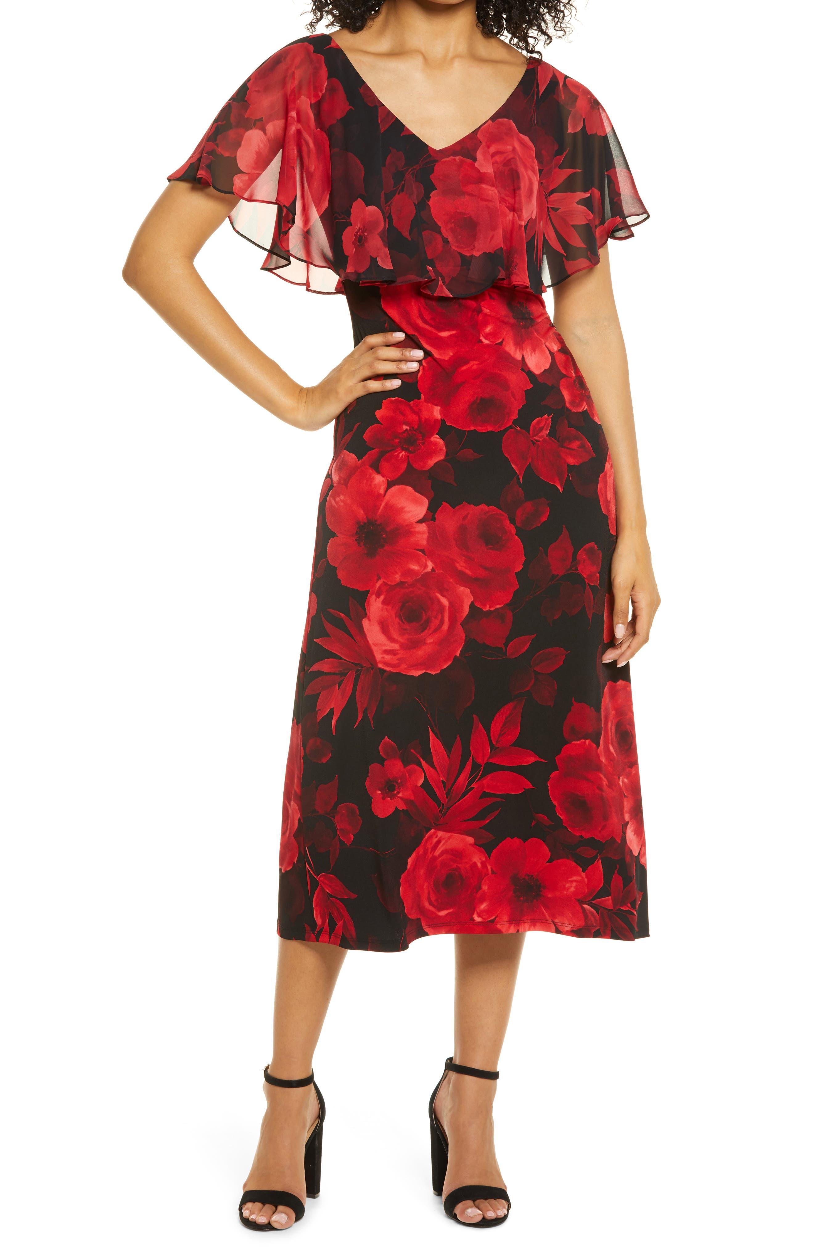 Mixi Floral Print Cape Sleeve Dress