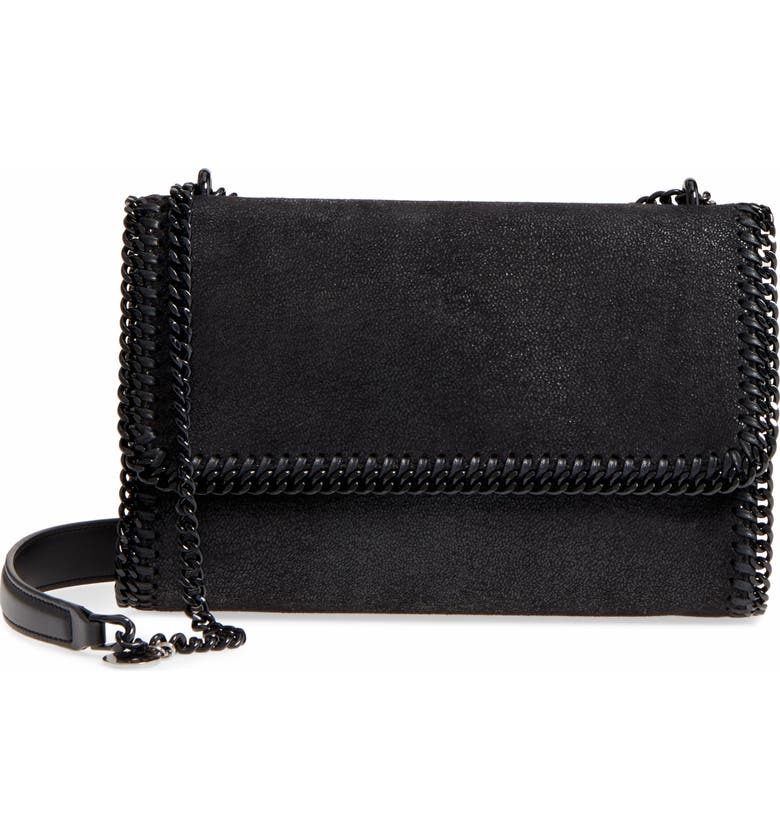 STELLA MCCARTNEY Falabella Shaggy Deer Faux Leather Shoulder Bag, Main, color, BLACK