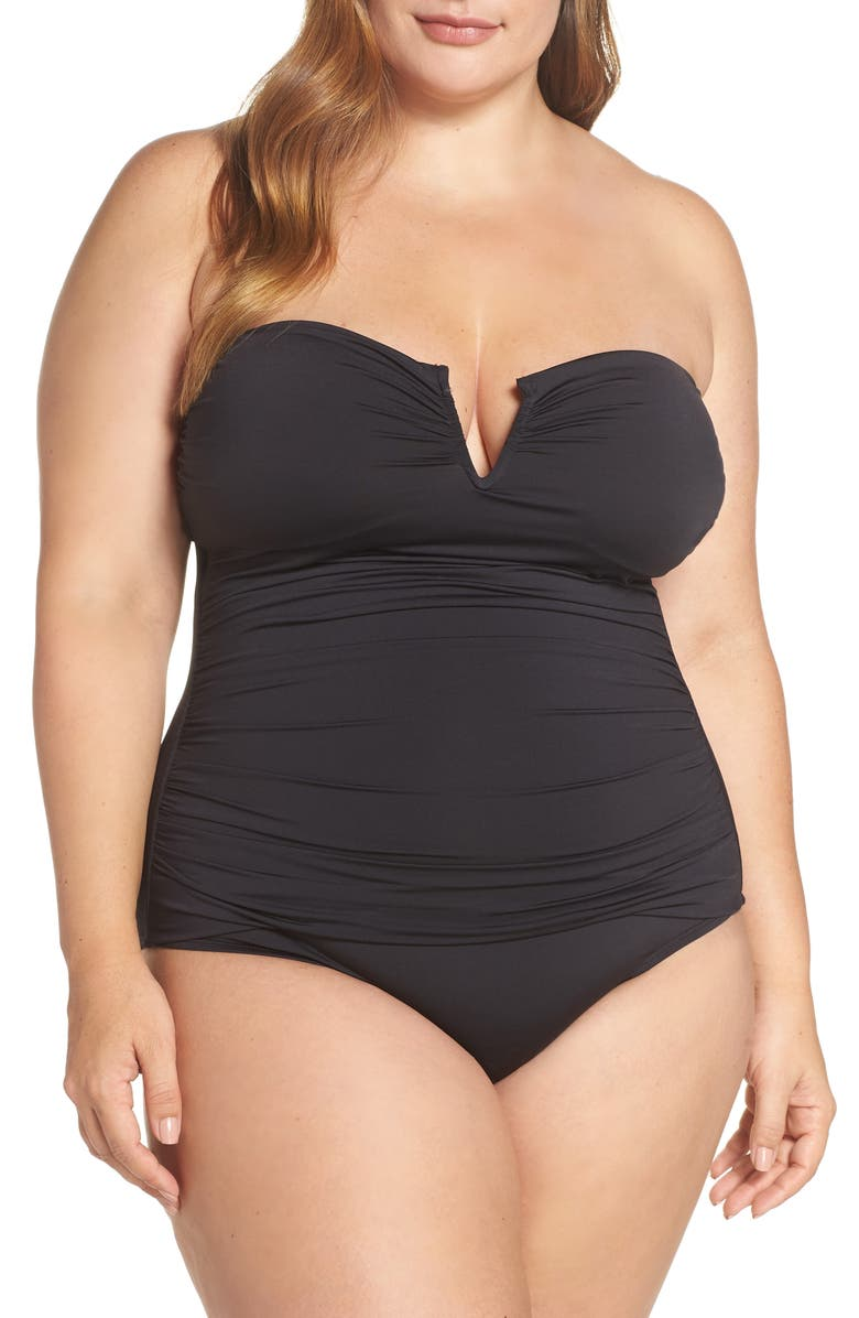 TOMMY BAHAMA 'Pearl' Convertible One-Piece Swimsuit, Main, color, BLACK