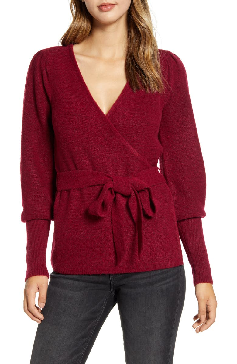 RACHEL PARCELL Wrap Cardigan, Main, color, BURGUNDY BEET