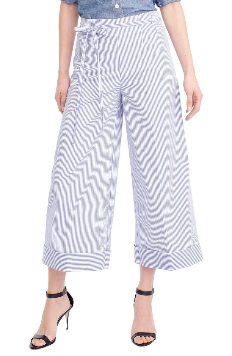 J.CREW Stripe Wide Leg Crop Pants, Main, color, 400