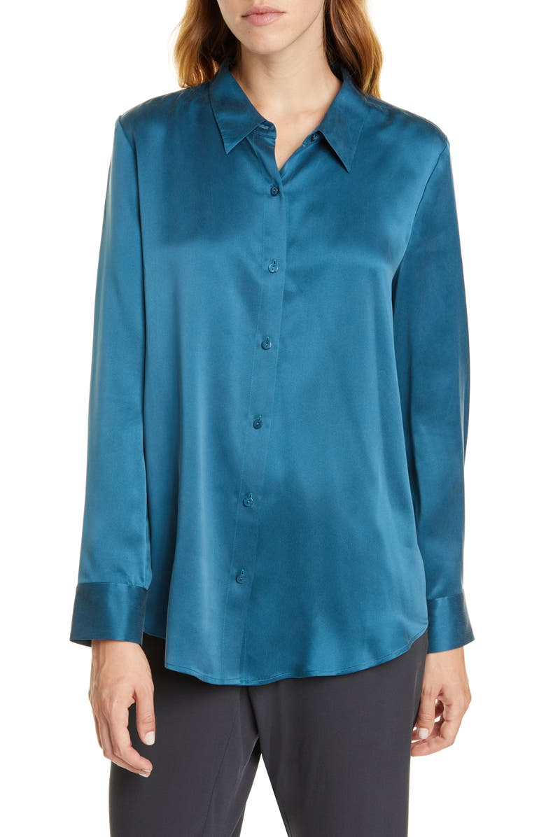 EILEEN FISHER Silk Shirt, Main, color, BLUE SPRUCE