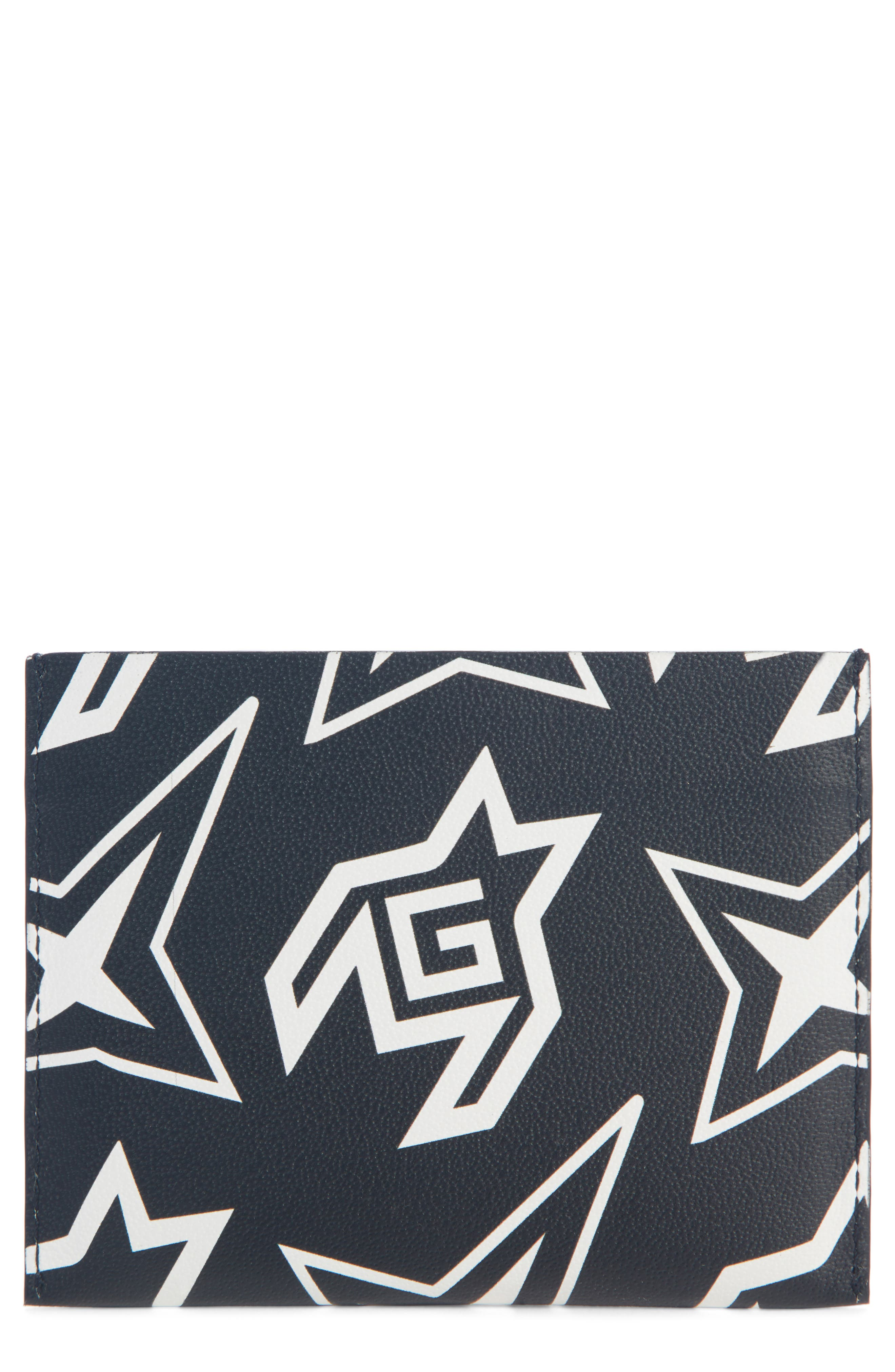 Cosmic Star Print Leather Card Case, Main, color, BLACK/ WHITE