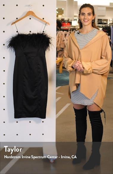 Lilya Feather Trim Satin Dress, sales video thumbnail
