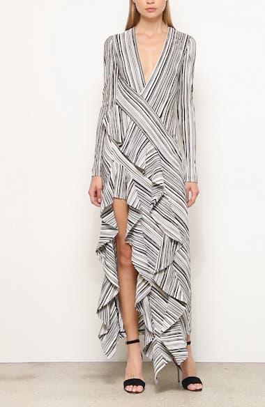 Taja Ruffle Long Sleeve Evening Dress, video thumbnail