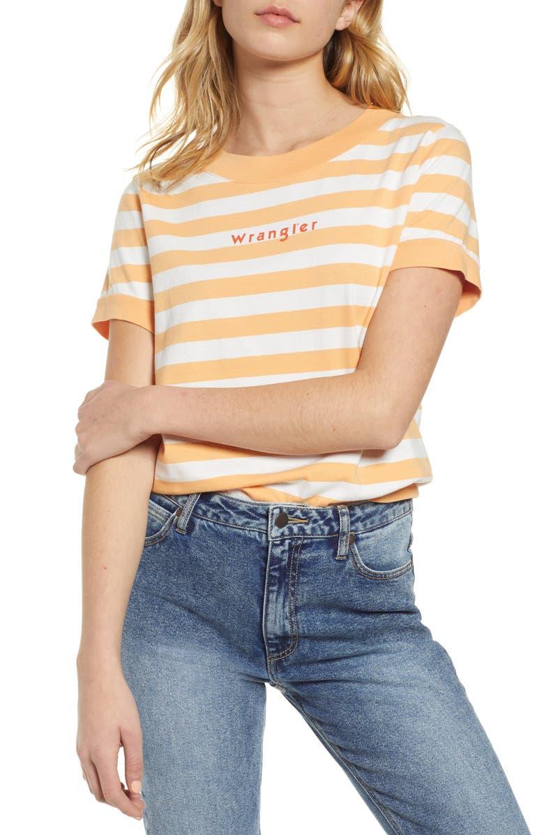 WRANGLER '80s Stripe Tee, Main, color, MEDIUM ORANGE