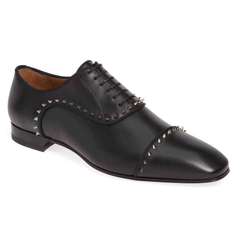 CHRISTIAN LOUBOUTIN Eton Spiked Oxford, Main, color, BLACK/SILVER