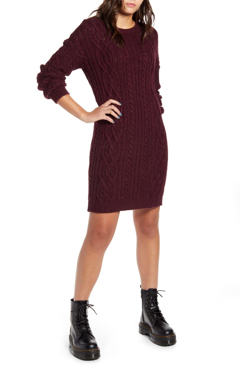 BP. Long Sleeve Cable Knit Sweater Dress, Main, color, BURGUNDY STEM