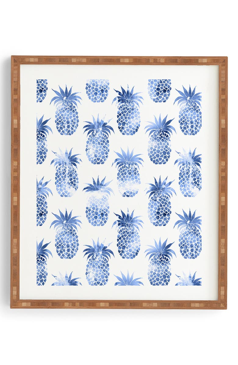 DENY DESIGNS Pineapples Blue Framed Wall Art, Main, color, BLUE