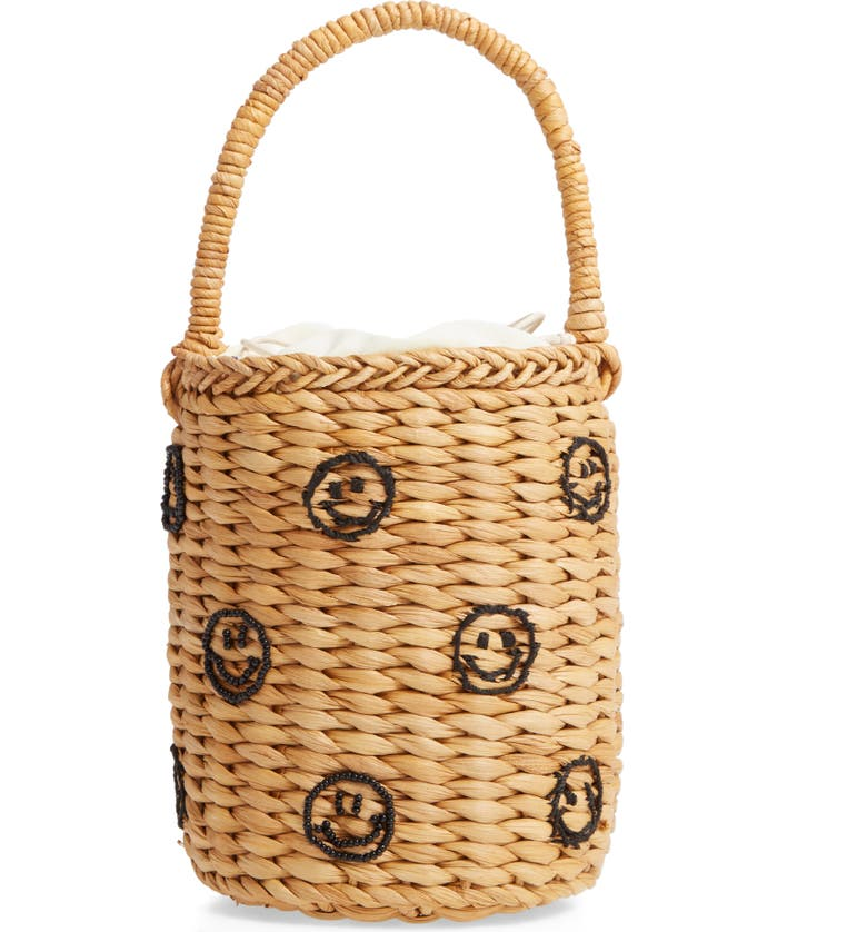 KNOTTY Beaded Straw Bucket Bag, Main, color, SMILEY FACE