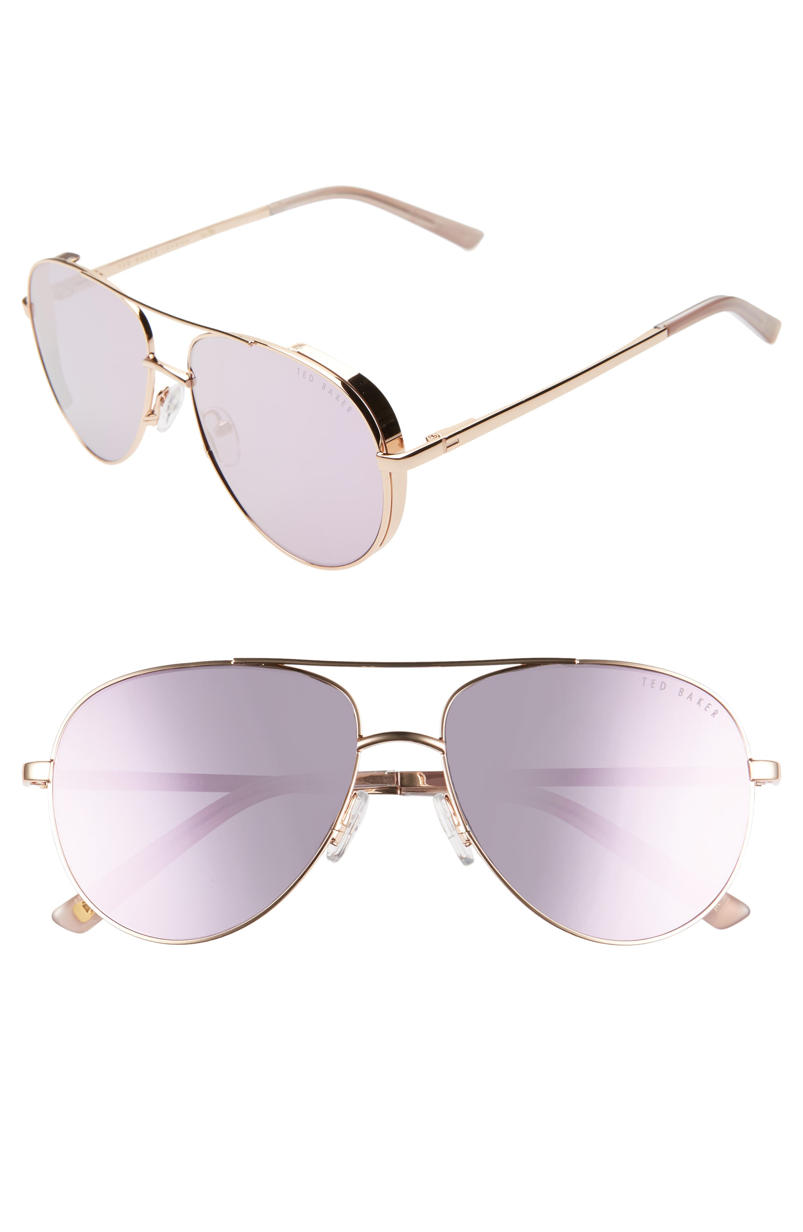 57mm Aviator Sunglasses, Main, color, GOLD/ ROSE GOLD
