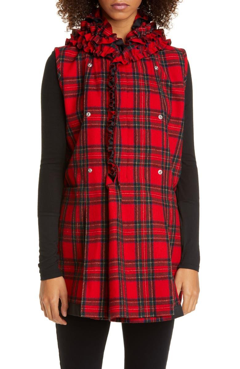 TRICOT COMME DES GARÇONS Comme des Garçons Ruffle Collar Tartan Wool Vest, Main, color, RED