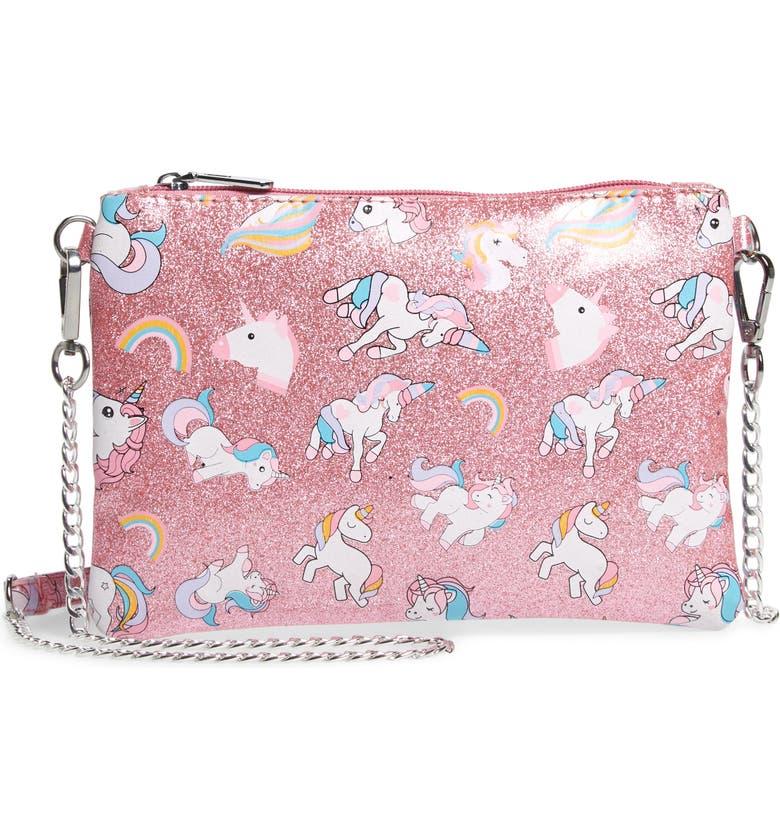BARI LYNN Glitter Unicorn Shoulder Bag, Main, color, PINK