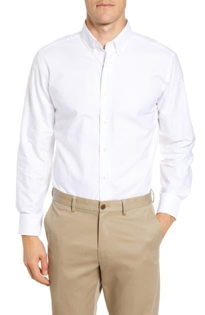 Lorenzo Uomo Royal Oxford Stretch Trim Fit Dress Shirt In White