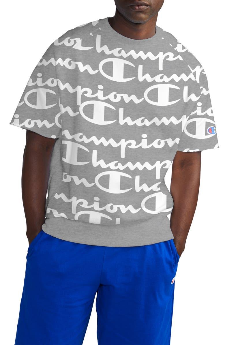 CHAMPION Life<sup>®</sup> Reverse Weave Script Fleece Pullover, Main, color, 056