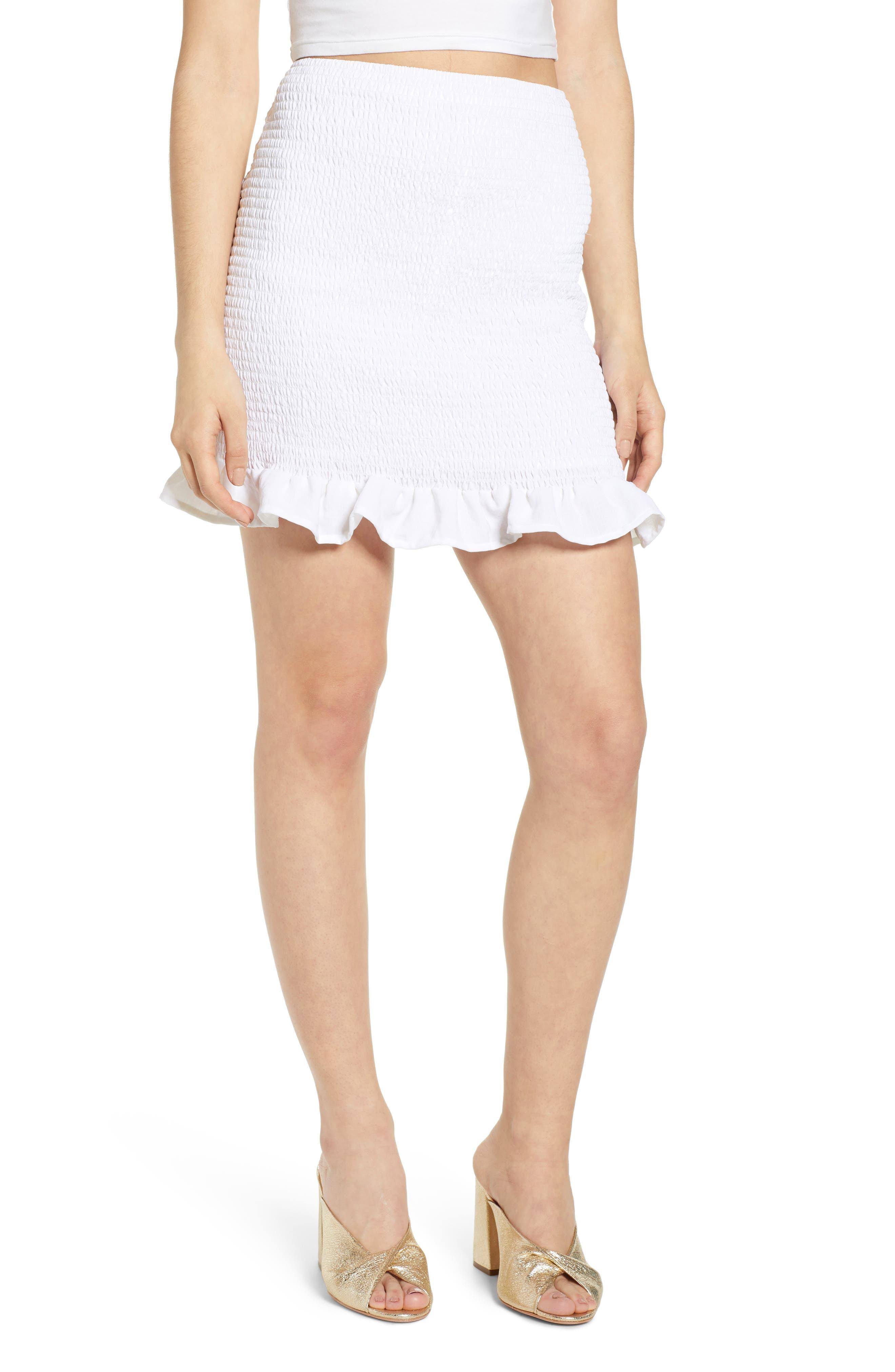 Leith Smocked Skirt, White