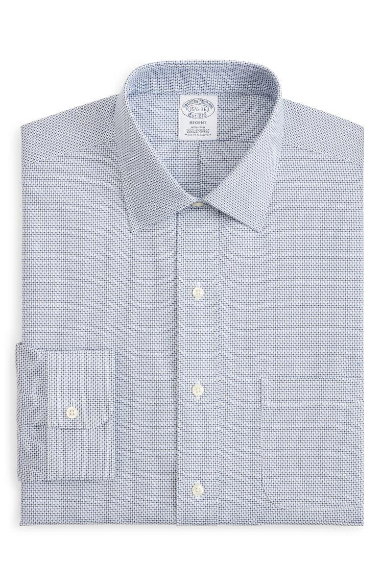 BROOKS BROTHERS Regent Regular Fit Check Dress Shirt, Main, color, BLUE