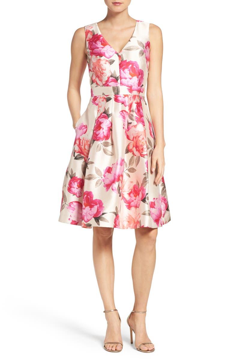 ELIZA J Floral Mikado Fit & Flare Dress, Main, color, 901
