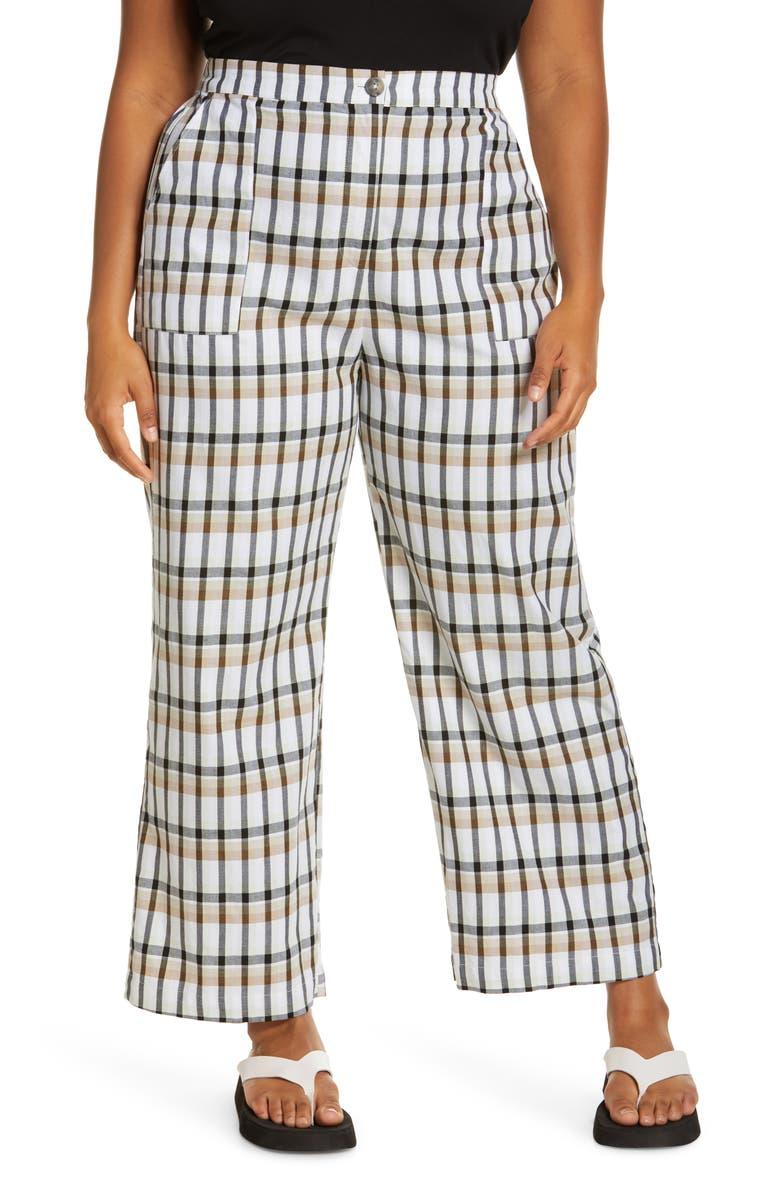 BP. Crop Plaid Pants, Main, color, IVORY- BLACK PARK PLAID