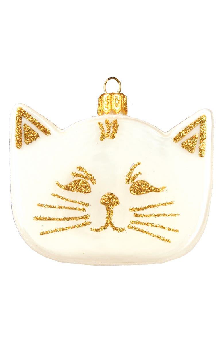 NORDSTROM Cat Love Handblown Glass Ornament, Main, color, WHITE MULTI