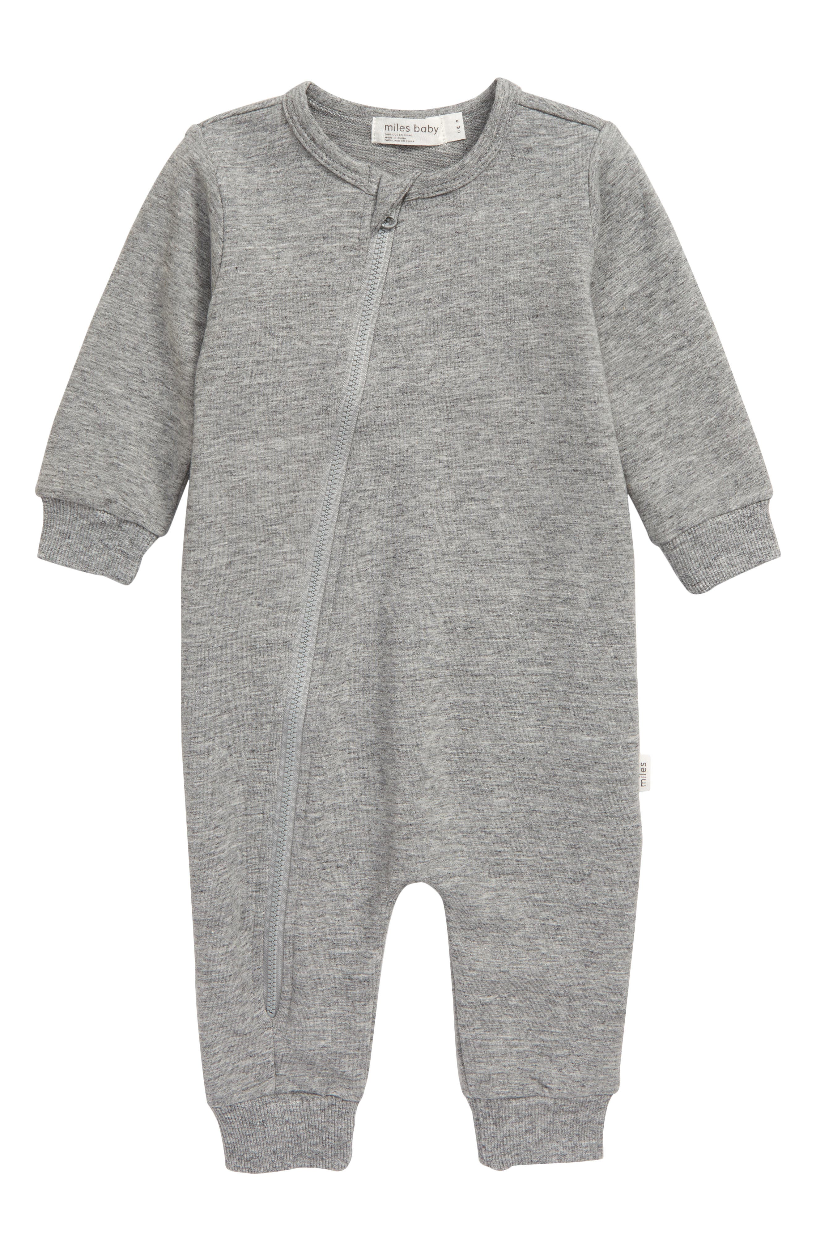 Give your little one a cozy cuddle in this stretchy organic-cotton romper that\\\'s easy on you and baby thanks to a top-to-bottom zipper fixed with a chin guard. Style Name: Miles Baby Asymmetrical Zip Romper (Baby). Style Number: 5886352 1. Available in stores.