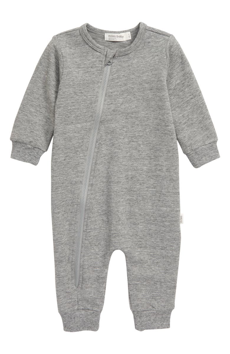 MILES BABY Asymmetrical Zip Romper, Main, color, DARK GREY HEATHER