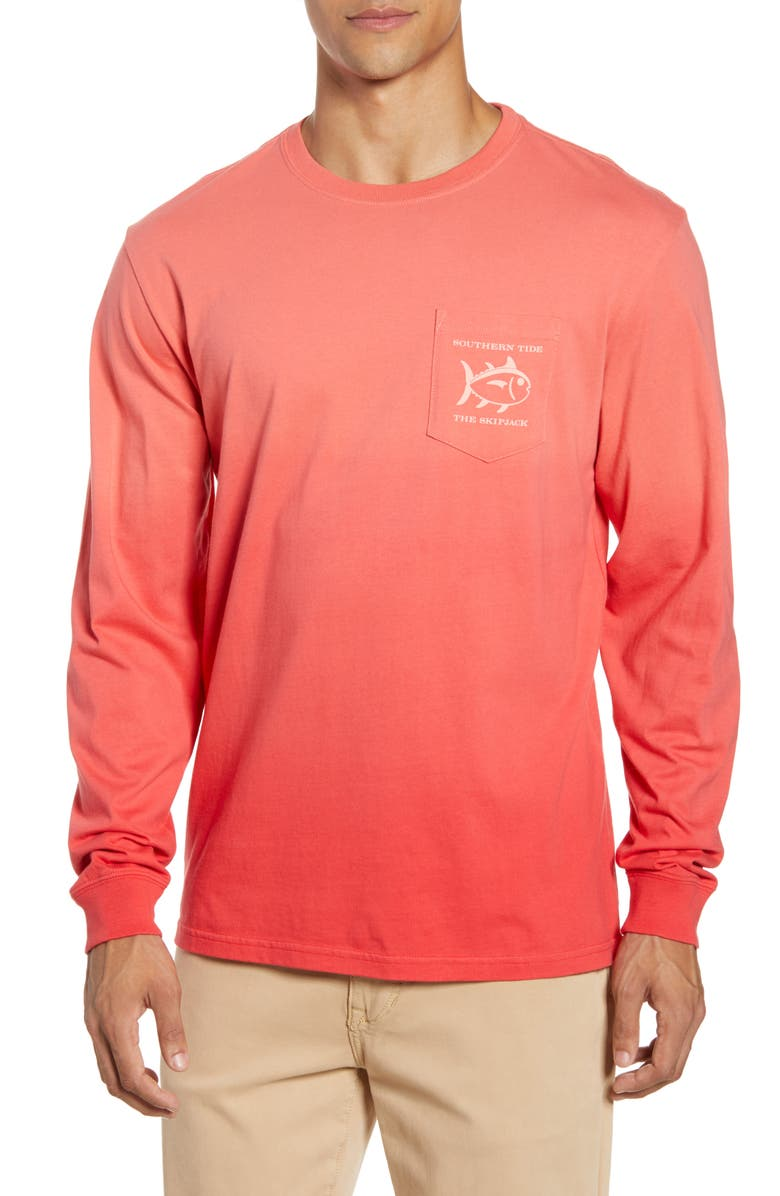 SOUTHERN TIDE Original Skipjack Long Sleeve Pocket T-Shirt, Main, color, ROMAN RED