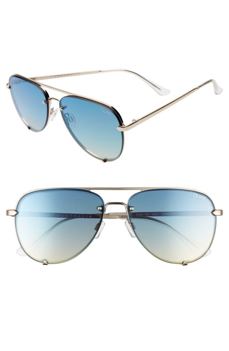 QUAY AUSTRALIA x Desi Perkins High Key Mini 53mm Rimless Aviator Sunglasses, Main, color, GOLD/ BLUE TURQUOISE