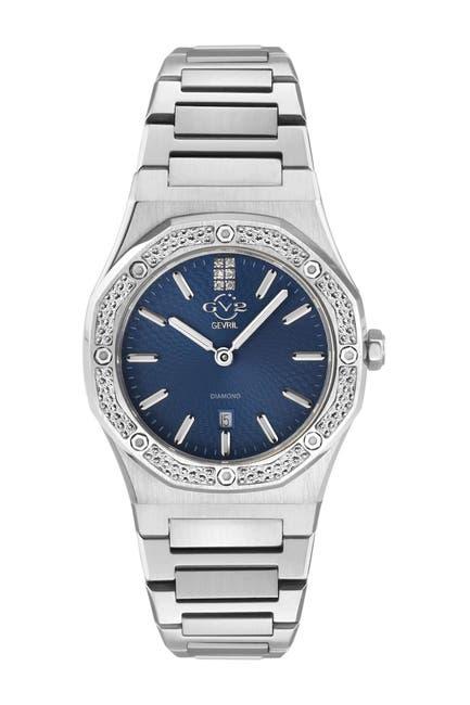 Image of Gevril Women's GV2 Palmanova Blue Dial Diamond Bracelet Watch, 44mm - 0.0285 ctw