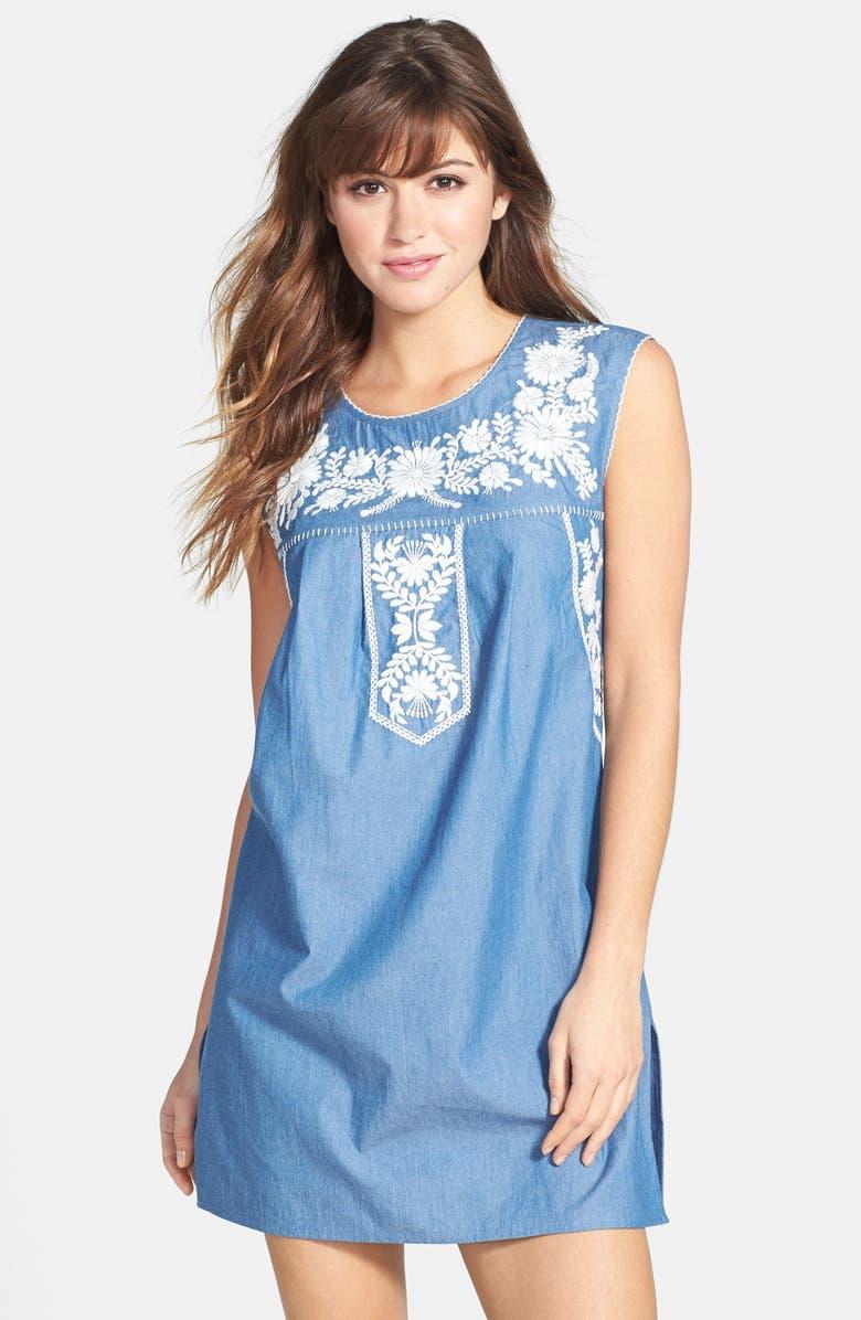 TORY BURCH 'Calita' Embroidered Dress, Main, color, 470