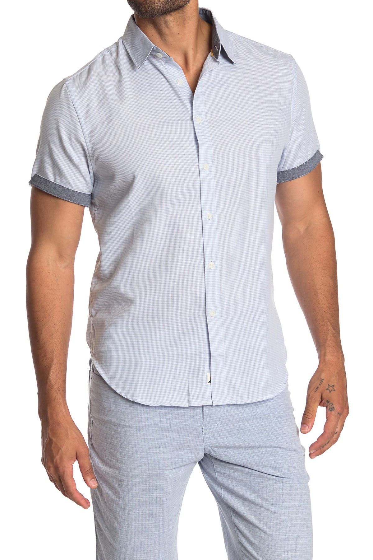 Image of Fundamental Coast Ocean Club Check Short Sleeve Regular Fit Shirt