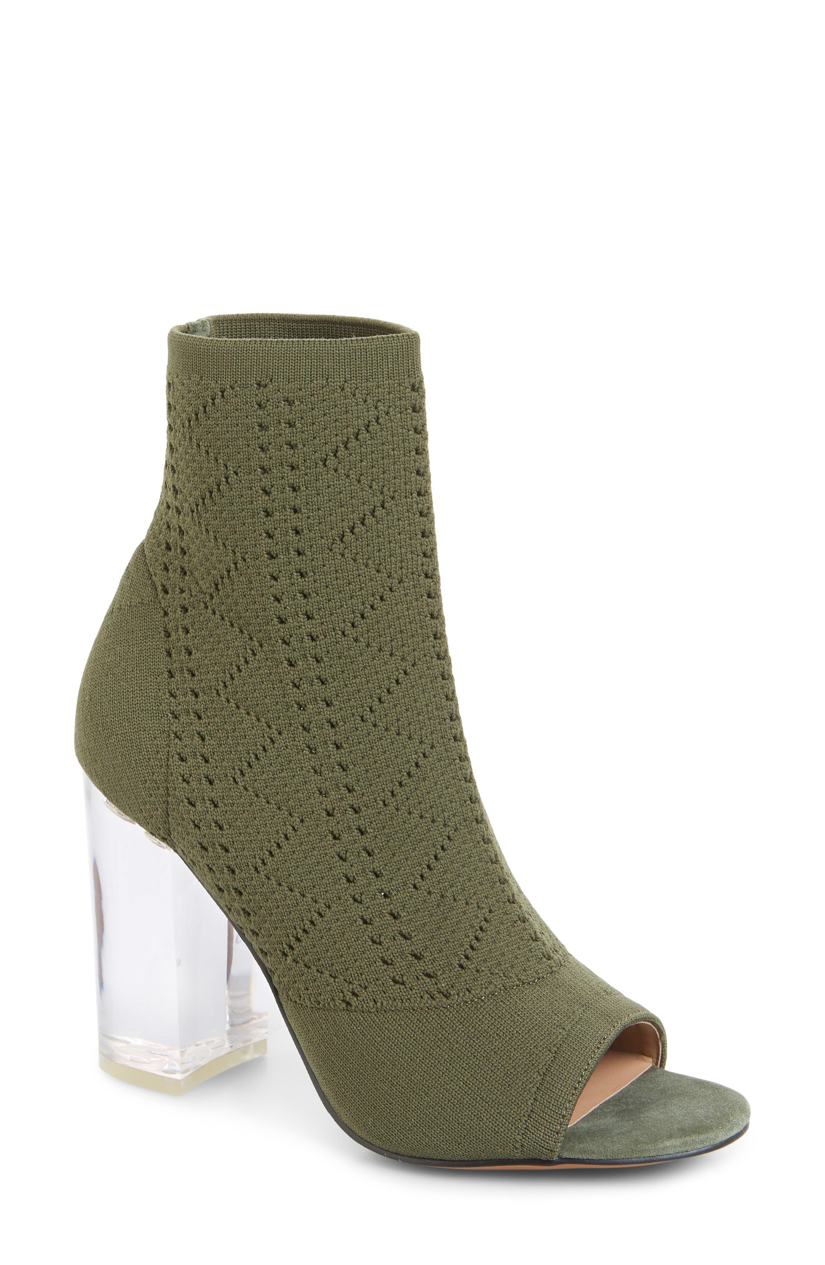 Linea Paolo Hollis Peep Toe Sock Bootie- Green