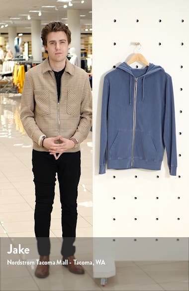 Sun Faded Zip Front Stretch Cotton Terry Hoodie, sales video thumbnail
