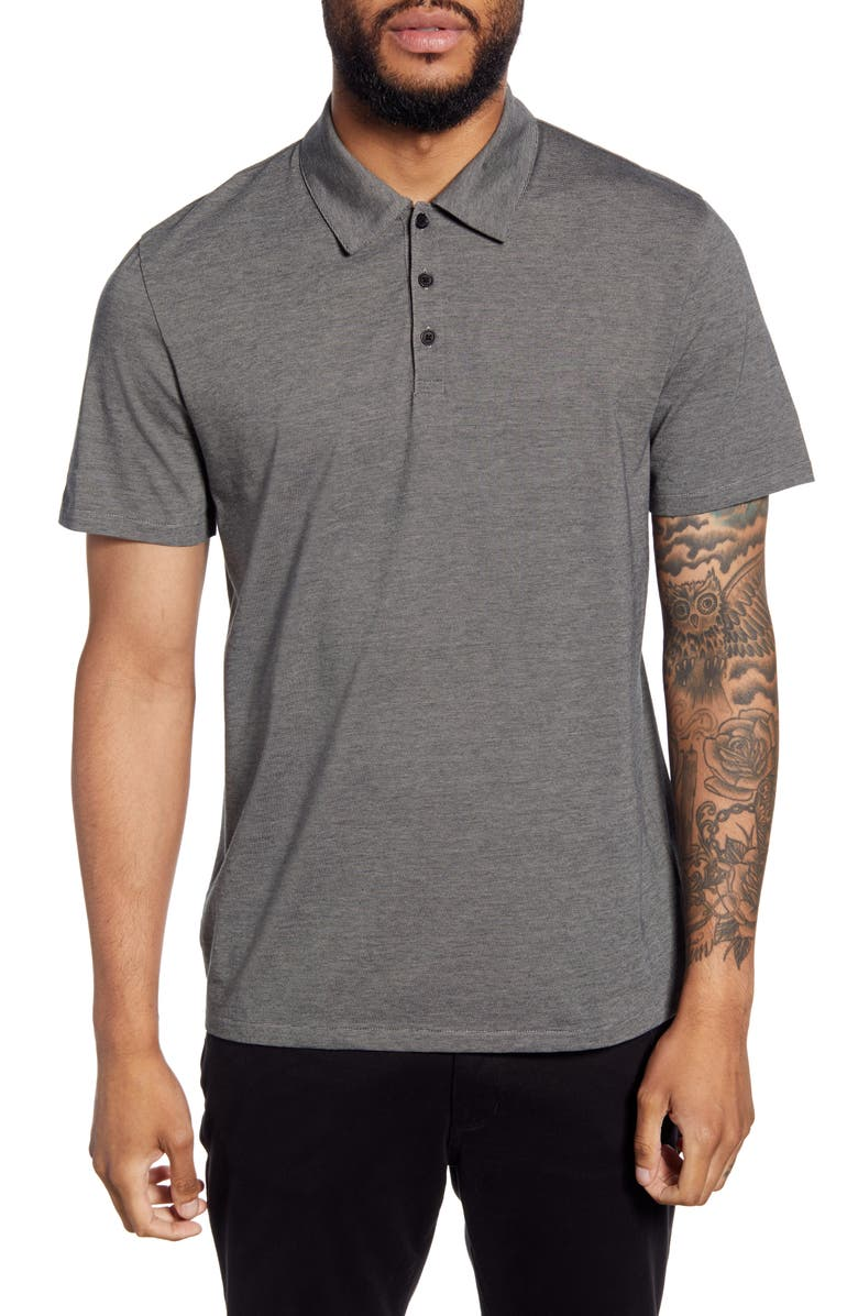 VINCE Classic Fit Pinstripe Polo, Main, color, BLACK/ H GREY