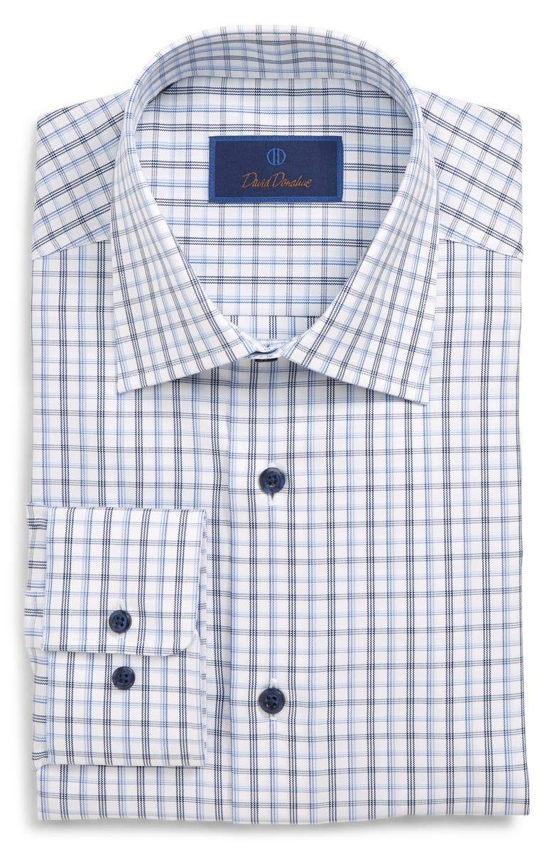 DAVID DONAHUE Regular Fit Plaid Dress Shirt, Main, color, BLUE